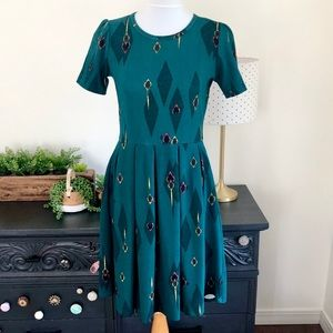 LulaRoe Evergreen Diamond Amelia Dress M